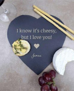 Cheesy Love Personalised Heart Slate