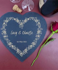 Decorative Personalised Heart Shaped Slate