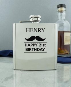 Personalised Moustache Conventional Hip Flask