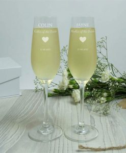 Mother And Father Of The Bride Personalised Crystal Flute