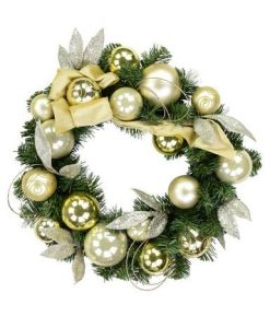 Gold & Champagne Bauble Pre-Decorated Pine Wreath - 44cm