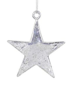 Silver & Clear Speckled Star Hanging Ornament - 10cm