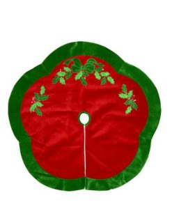 Red Velvet Scalloped Tree Skirt with Green Border & Holly Leaf Design - 1.2m