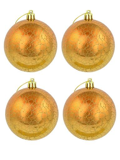 Metallic Gold with Shattered Detail Baubles - 4 x 80mm