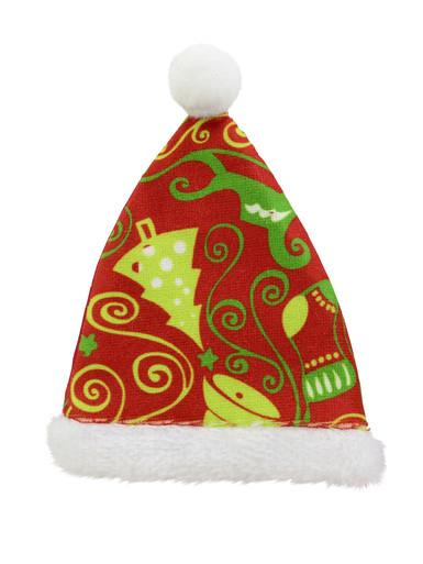 Red Santa Hat with Green Christmas Print Hanging Ornament - 12cm