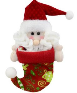 Red Stocking with Christmas Print & Santa Peeking from top Hanging Ornament - 18cm