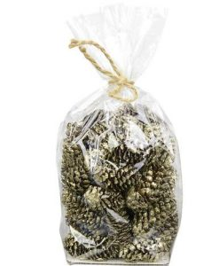 Bag of Decorative Round Pinecones in Gold/Champagne Glitter - 14cm