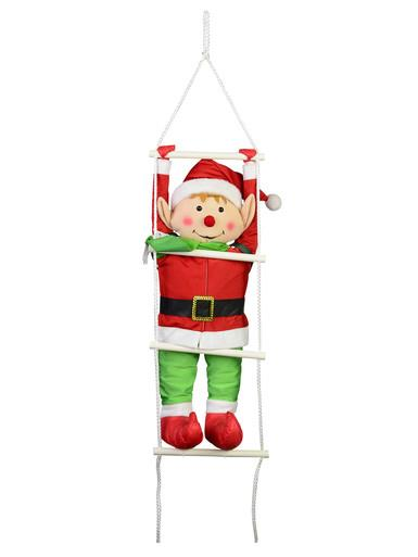 Padded Hanging Elf on a Ladder - 60cm