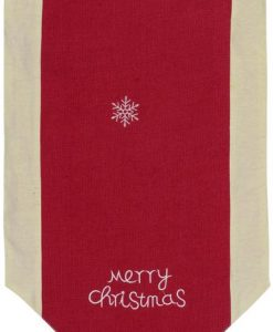 Red Hessian Table Runner with Nude Fabric Border & Red Tassel - 1.4m
