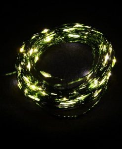 100 Warm White Battery Powered LED Micro Lights with Green Wire - 8m