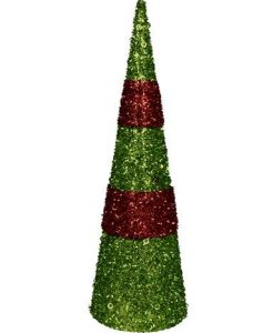 Red & Green PVC Tabletop Tree with Sequins & Glitter - 38cm