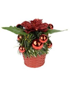 Red Woven Basket with Greenery & Red Baubles & Flower Standing Ornament - 13cm