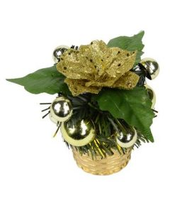 Gold Woven Basket with Greenery & Gold Flower Standing Ornament - 11cm