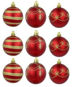 Red Matte & Metallic Baubles with Gold Stripe