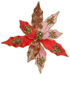 Red & Green Poinsettia Clip On - 18cm