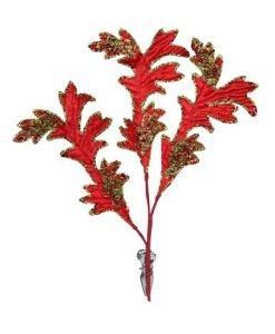 Red & Green Acanthus with Clip - 30cm