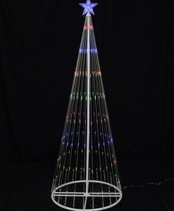 Multi Colour LED Christmas Tree with Flashing Blue Star - 1.95m