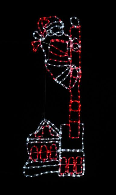 Santa Up Chimney LED Rope Light in Red & White with Controller - 1.3m