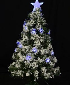 Snow Covered Christmas Tree with LED Star Topper