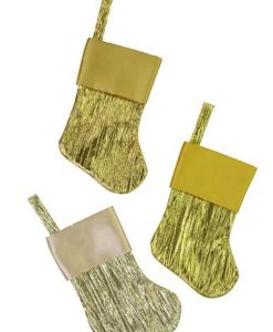 6 Pk Gold & Champagne Pleated Mini Stockings with Satin Cuff - 15cm