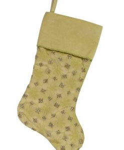 Gold Organza Stocking with Gold Glitter Star & Snowflake Design