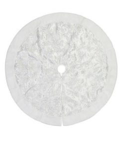 White Tree Skirt with White Sequin Swirl Pattern & Faux Fur Trim - 1.2m