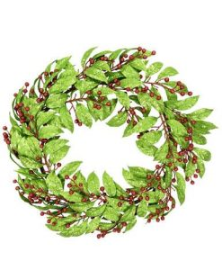 Glittered Bare Wreath with Green Leaves & Red Berries - 60cm