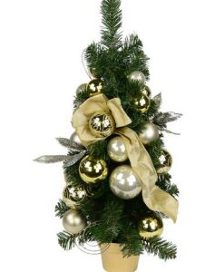 Gold & Champagne Bauble Pre-Decorated Pine Table Tree - 65cm