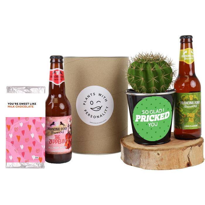 Valentine Beers and Cactus Gift