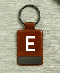 Initial Brown Key Ring