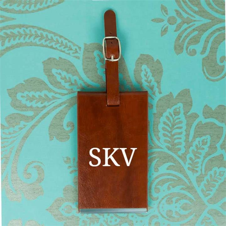 Brown Personalised Initials Luggage Tag