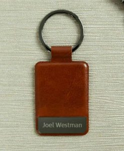 Engraved Name Brown Key Ring