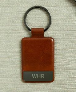 Engraved Initials Brown Key Ring