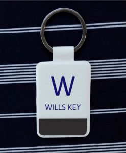 Stylish Personalised White Key Ring