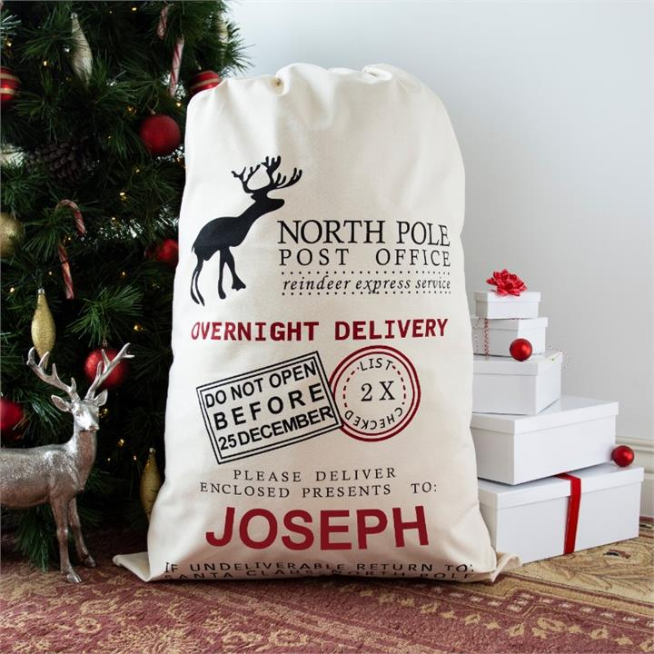 Large Reindeer Express Personalised Santa Sack