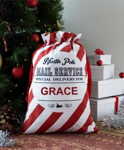 North Pole Striped Personalised Christmas Sack