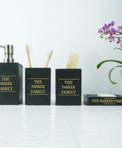 Personalised Black Sand Bathroom Set