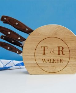 Personalised Couples 5pc Wooden Knife Set