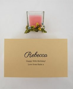 Personalised Bee And Flower Pink Candle