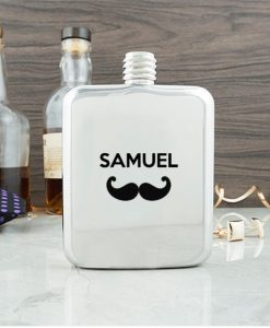 Moustache Contemporary Hip Flask