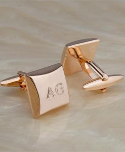 Rose Gold Engraved Cufflinks