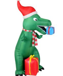 Green Dinosaur Inflatable With Santa Hat & Gifts - 2.1m