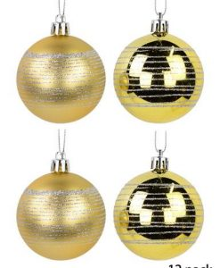 Gold Matte with Silver Glitter Stripes & Gold Gloss with Silver Glitter Stripes Bauble - 12 x 60mm