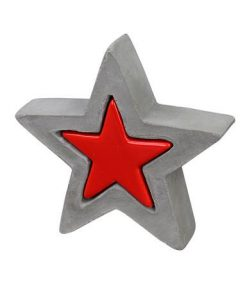 Ceramic Double Star Standing Ornament in Red & Concrete Grey Look - 13cm