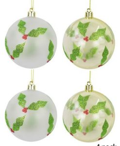 Holly Printed Baubles in Pearl White and Clear Gold 4pk - 6cm