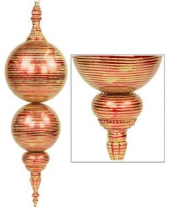 Large Metallic Apple Red Finial with Gold Glitter Striping - 85cm