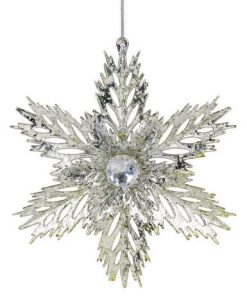 3D Silver Snowflake Hanging Ornament - 14cm