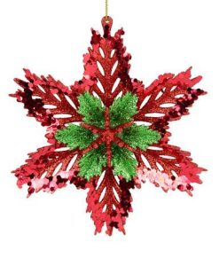 3D Red & Green Snowflake Hanging Ornament - 14cm