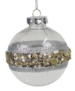 Clear & Silver Bauble with Silver Glitter & Gold Ball Embellishments - 8cm