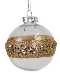 Clear & Rose Gold Bauble with Rose Gold Glitter & Gold Ball Embellishments - 8cm